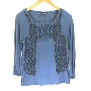 Lucky Brand Navy Blue Black Embroider Blouse